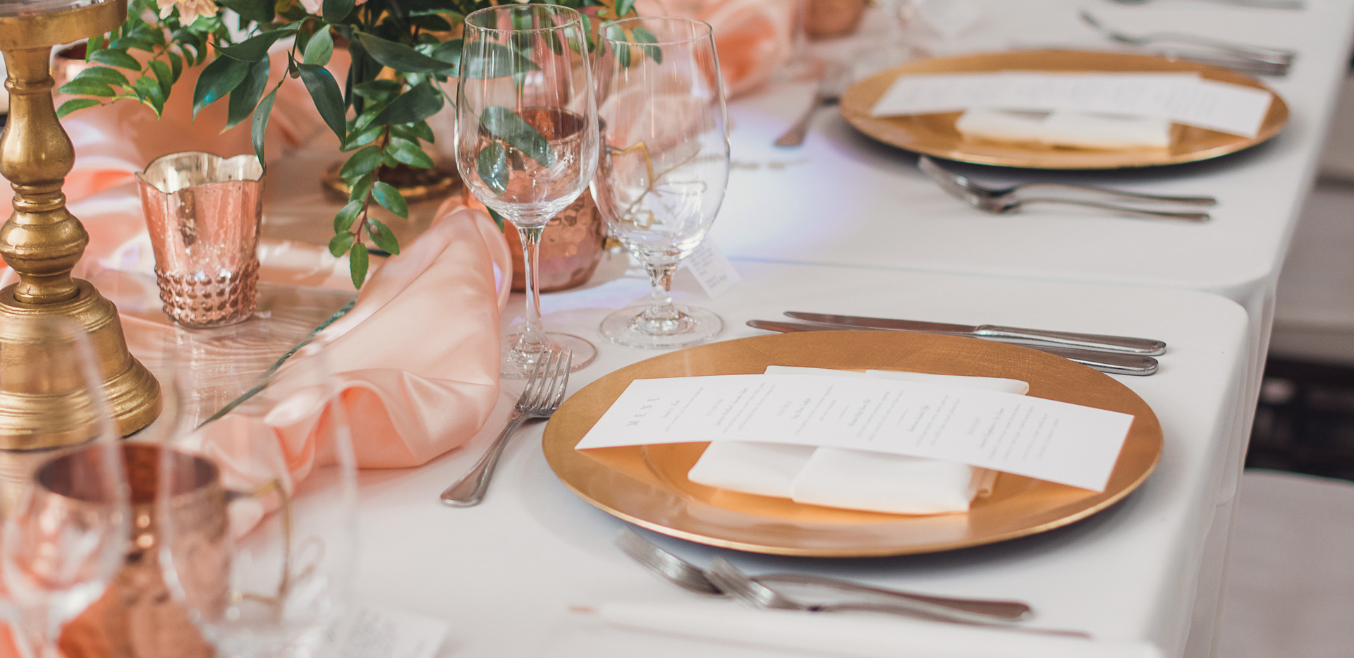 Blush, Red, and White Wedding Table Setting