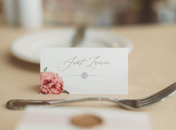 Blush and White Wedding Seating Cards