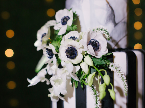 Black and White Striped Marble Wedding Cake