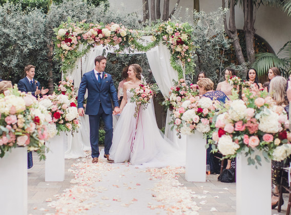 Grand Blush, Red, and White Wedding in DTLA