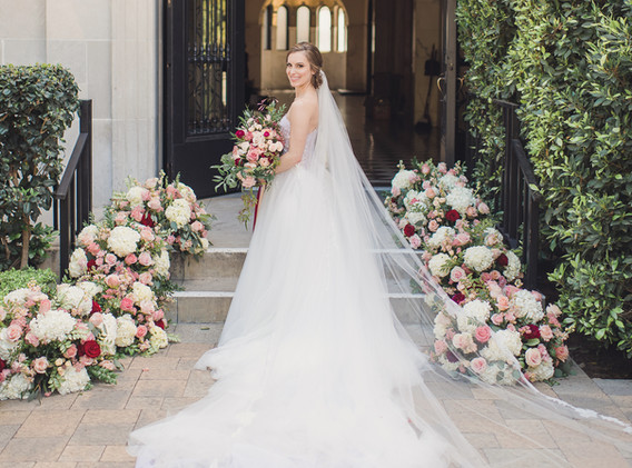 Blush, Red, and White Wedding with Stunning Wedding Dress