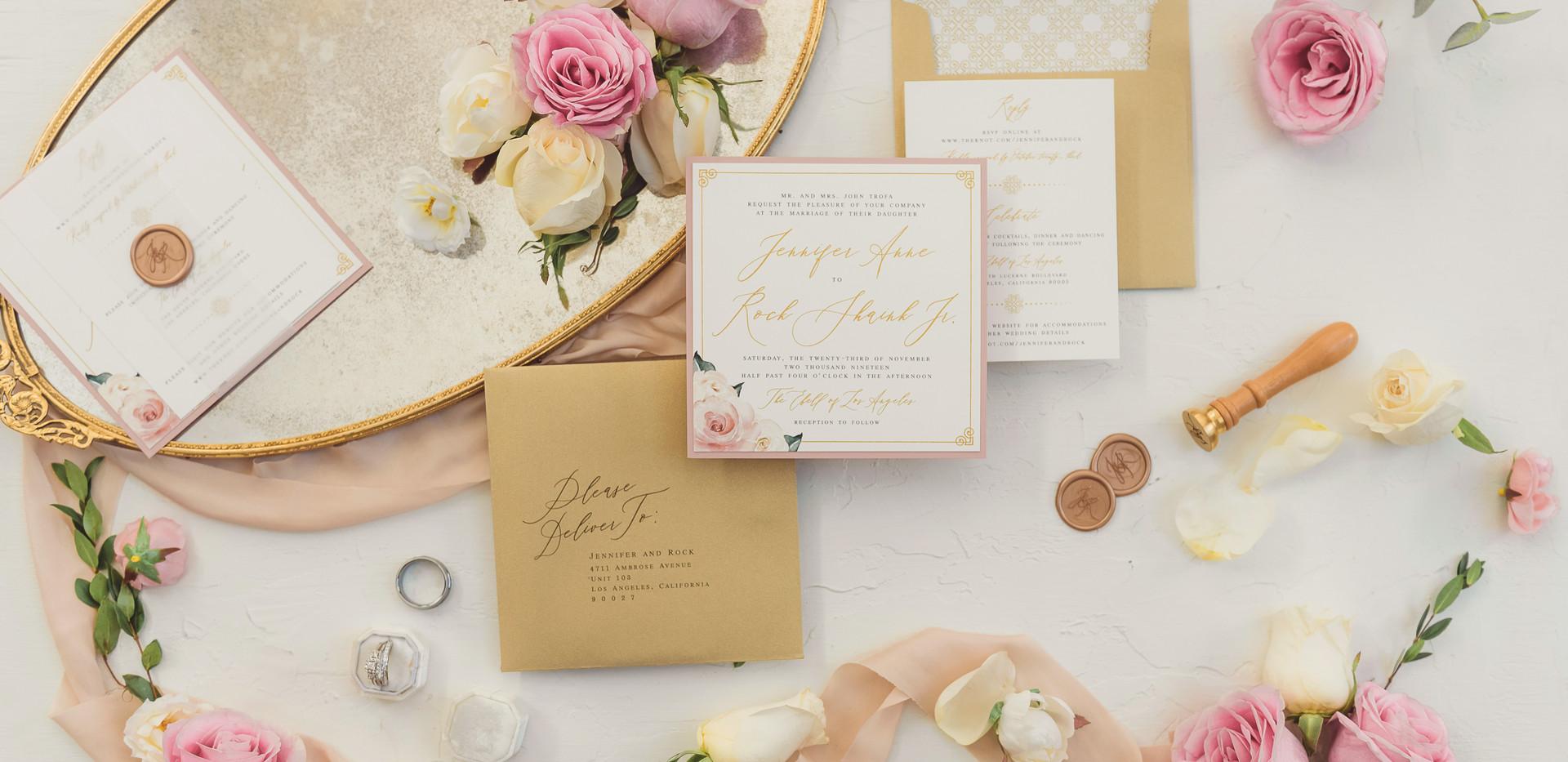 Classic Blush and White Wedding Invitations