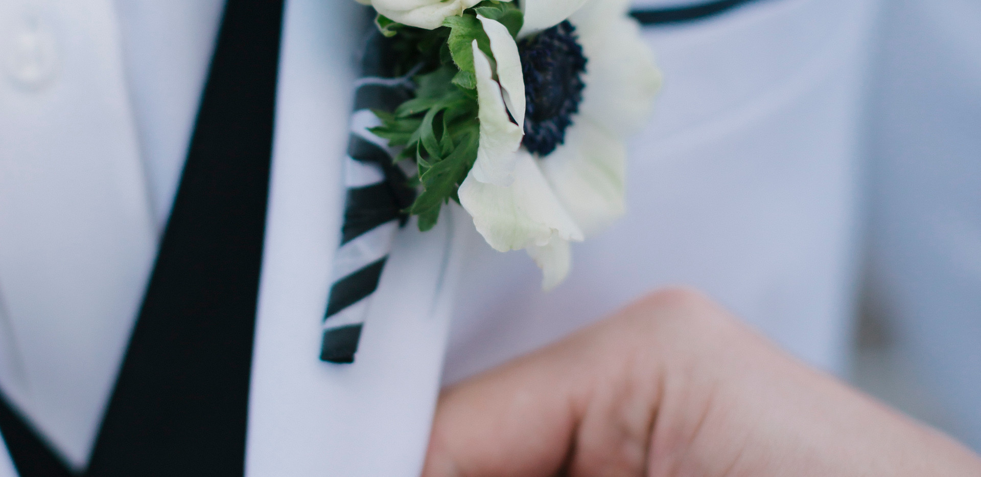 Black and White Wedding Boutonniere