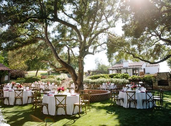 Rustic Outdoor Wedding Reception at Quail Ranch under Oak Trees