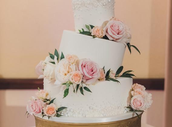 Tilted Tier White Wedding Cake
