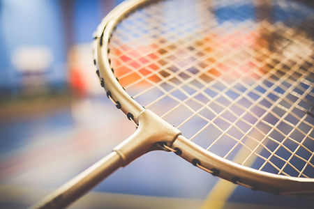 Badminton racket close up