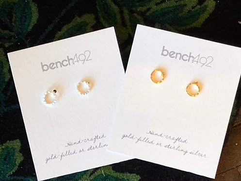 Small Silver or Gold Circle Earrings