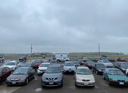 7. Pre-concert cars & clouds rolling in.