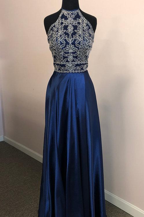 Blondie Nites: Halter-Neck Embroidered-Bodice Side Slit Charmeuse Long Dress
