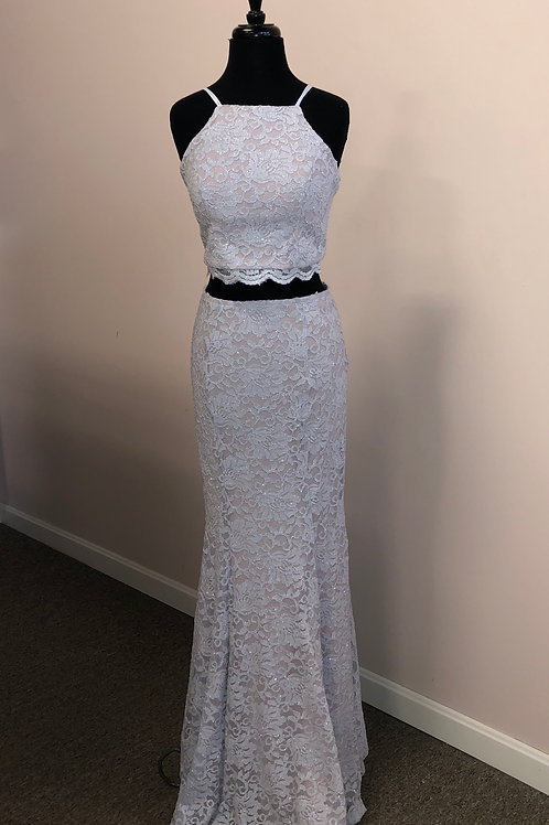 Sequin Hearts: Two-Piece Glitter Lace Prom Dress