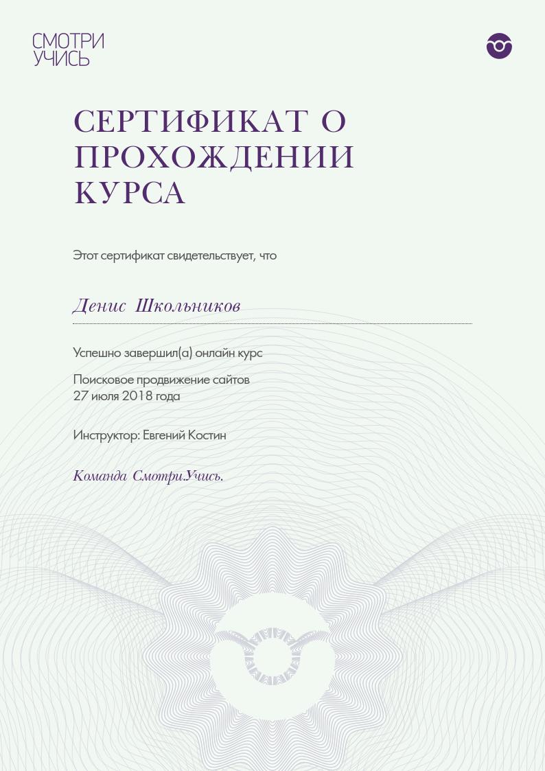 Сертификат о прохождении курса Поисковое