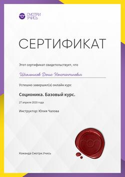 Сертификат о прохождении курса Соционика