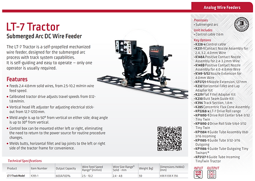 LT-7 Tractor - Submerged Arc DC Wire Feeder - Lincoln Electric