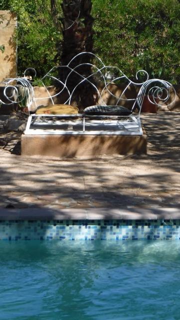 Bench at swimming pool