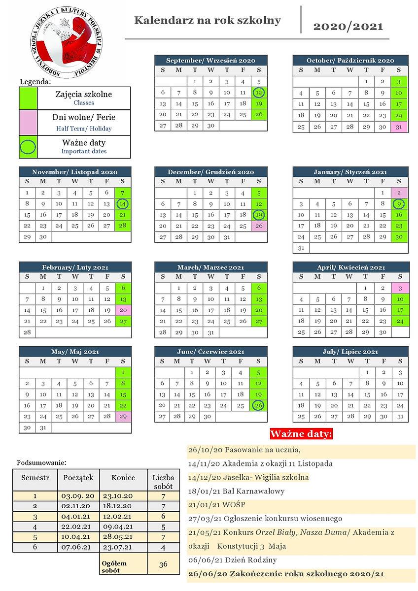 Update- Kalendarz na rok SZKOLNY 2020-21