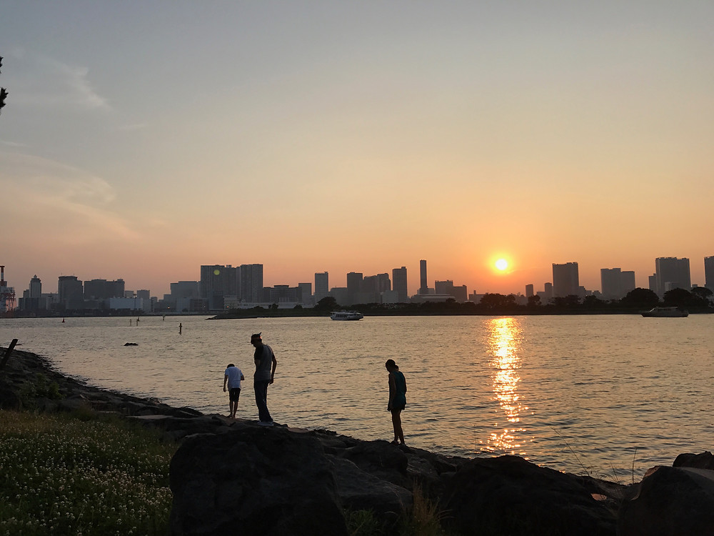 Sunset in Odaiba looking at the Tokyo skyline.  The kids found crabs.