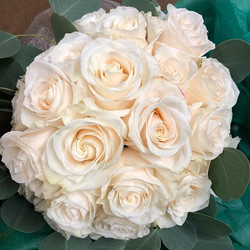 Classic white rose bridal bouquet