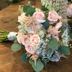 Blush pink and ivory  tied bridal bouque