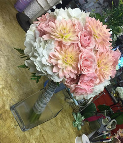 One of our past weekend bridal bouquets with Dahlias spray roses and hydrangea! #bridalbouquet #wedd
