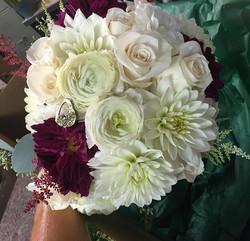 Our Brides Bouquet #dahlias #ranunculus #bridalbouquet #brides #wedding #floral #morningsidegreenhou