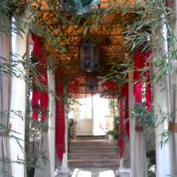 #Chinese inspired entrance way.. #bamboo #red #wedding  _warren.tom