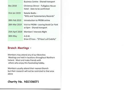 North of Ireland Family History Society, Ballymena Branch Programme