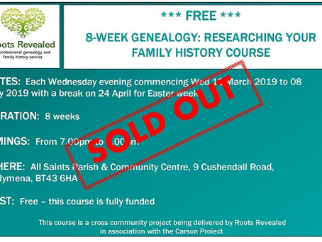 Free 8-week Genealogy: Researching Your Family History Course is Sold Out