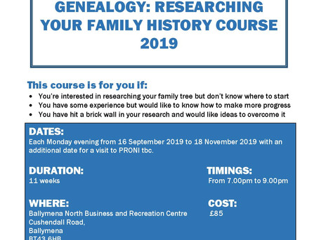 Genealogy: Researching Your Family History Evening Course (Sep 2019) now available to book