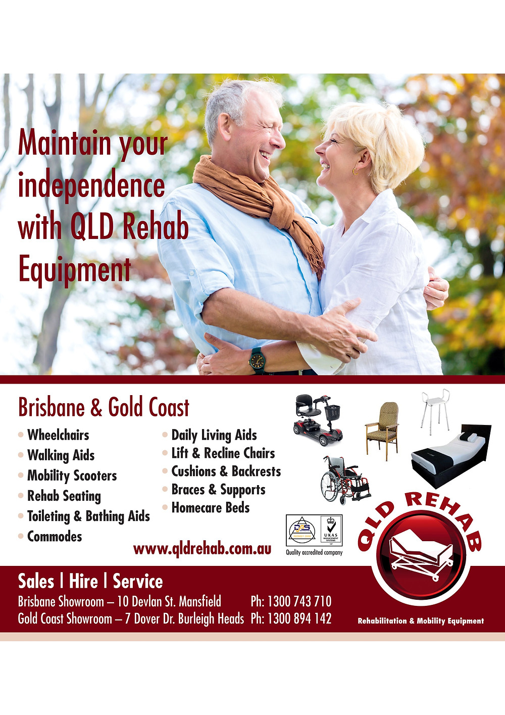 Qld Rehab Equipment are advertising in Your Time magazine