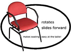 The Revolution Chair turns and slide back and forward