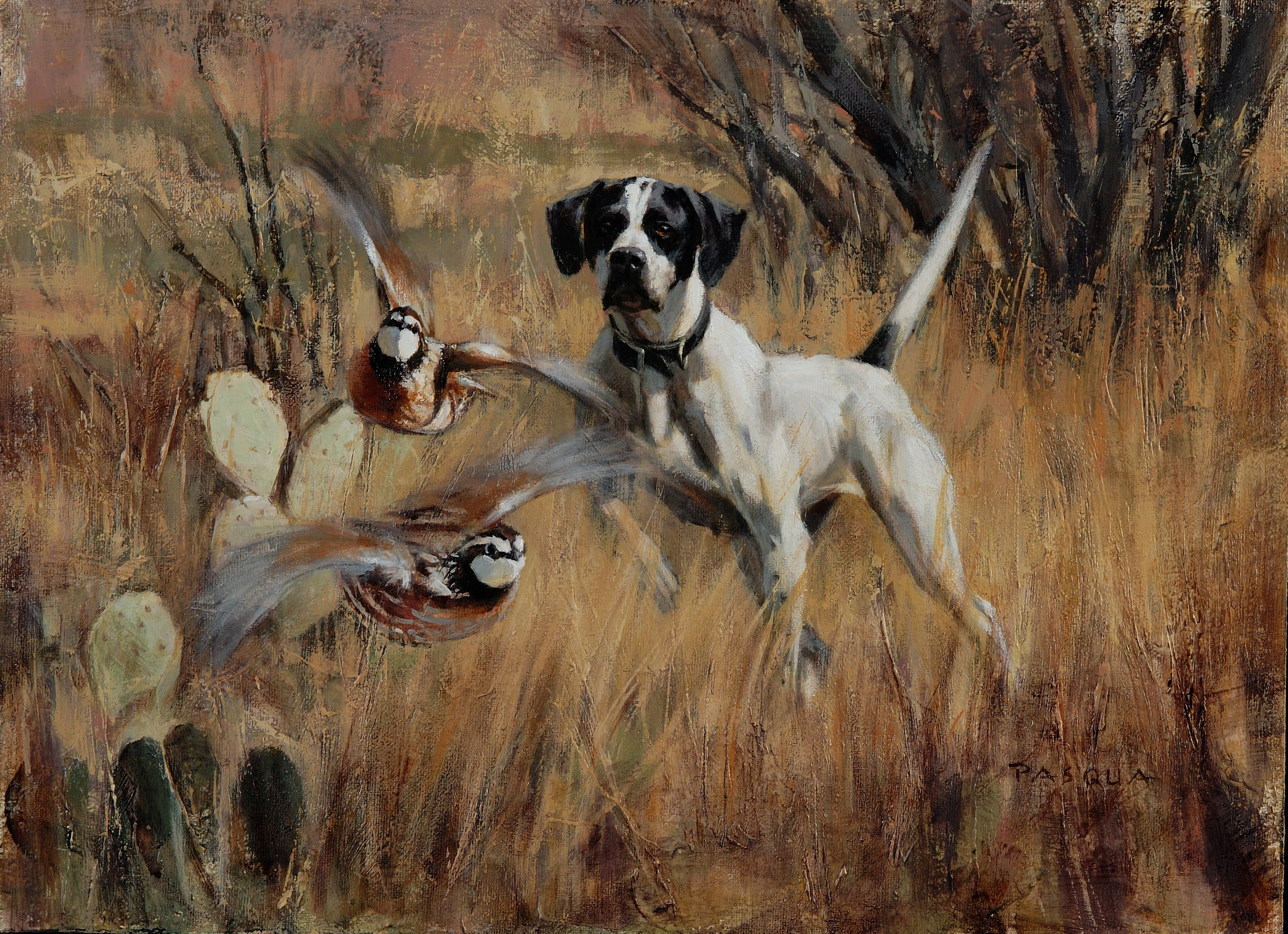 Pointer and Quail 11 x 15