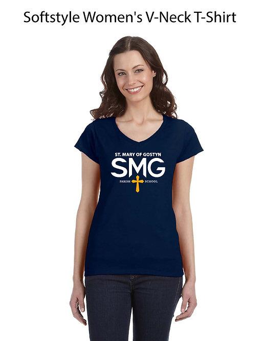SMG Women's V Neck T-Shirt - Navy