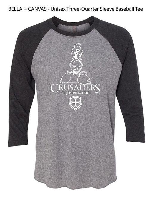 "SJS ""Crusaders"" 3/4 Sleeve Baseball T-Shirt - Deep Heather Black"