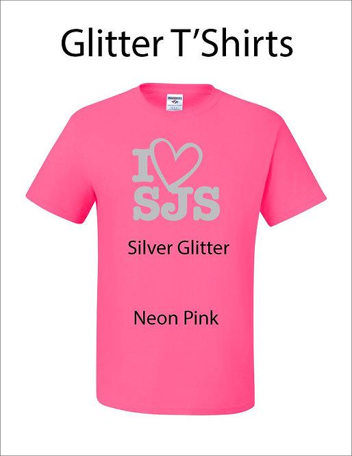 SJS I Heart SJS Glitter Shirt - Neon Pink, Silver Glitter