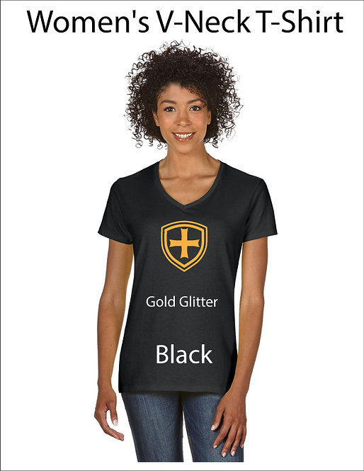 SJS Women's Shield Shirt - Black, Gold Glitter
