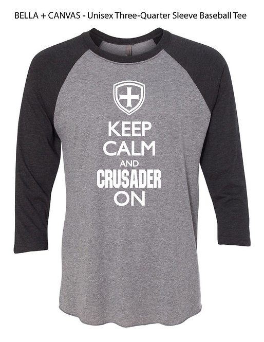 "SJS ""Keep Calm"" 3/4 Sleeve Baseball T-Shirt - Deep Heather Black"