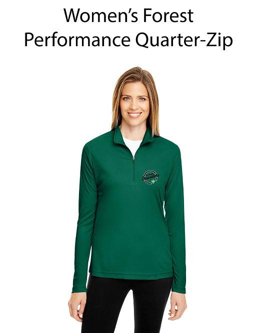 SJS Women's Quarter Zip Pullover - Green