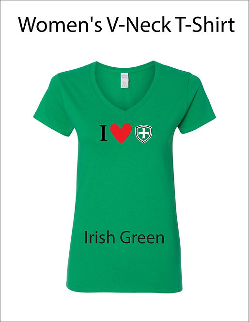 SJS Women's I Heart Shield Shirt - Irish Green