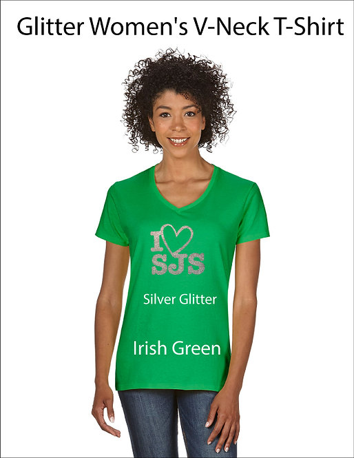 SJS Women's I Heart SJS Shirt - Irish Green, Silver Glitter