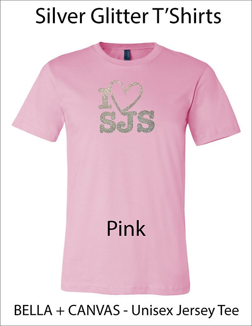 SJS I Heart SJS Glitter Shirt - Pink, Silver Glitter