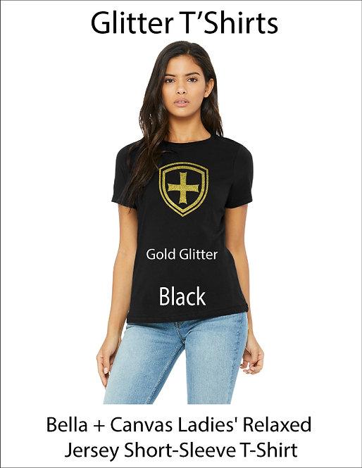 SJS Women's Bella & Canvass Shield Shirt - Black, Gold Glitter