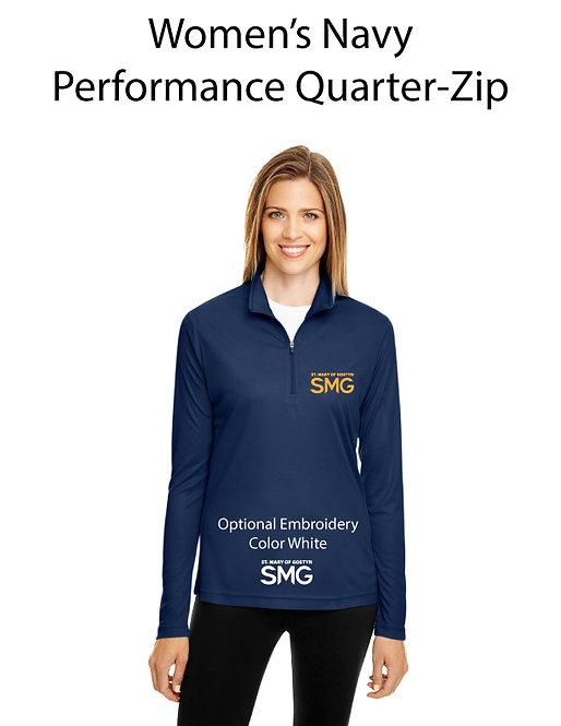 SMG Women's Quarter Zip Pullover - Navy