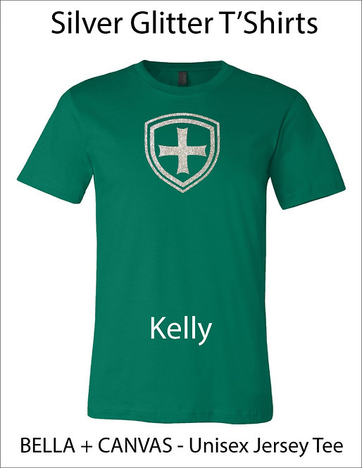 SJS Shield Glitter Shirt - Kelly Green, Silver Glitter