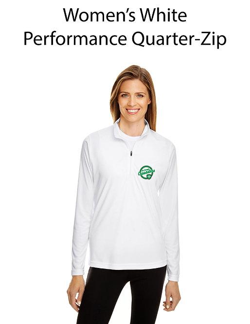 SJS Women's Quarter Zip Pullover - White