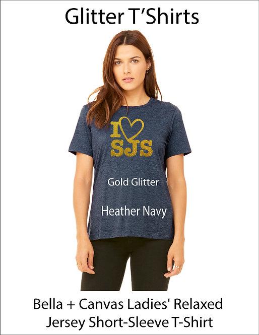 SJS Women's Bella & Canvass Shield Shirt - Heathered Navy, Gold Glitter