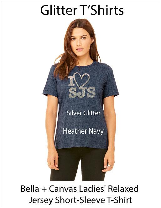 SJS Women's Bella & Canvass I Heart SJS Shirt - Heathered Navy, Silver Glitter