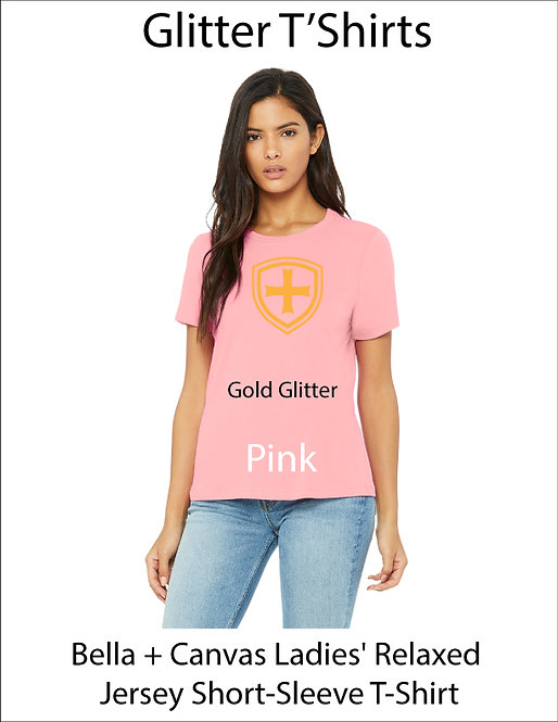 SJS Women's Bella & Canvass Shield Shirt - Pink, Gold Glitter
