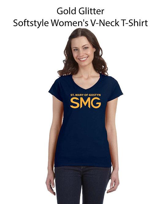 SMG Woman's V_Neck Glitter T-Shirt