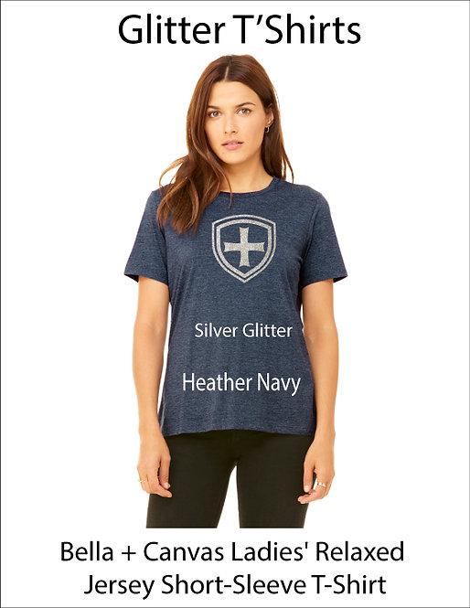 SJS Women's Bella & Canvass Shield Shirt - Heathered Navy, Silver Glitter