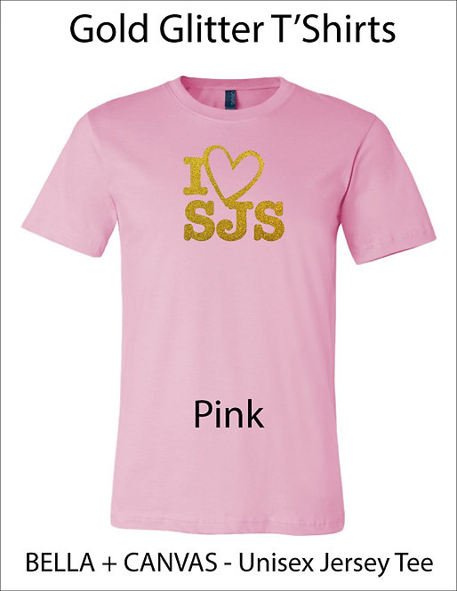 SJS I Heart SJS Glitter Shirt - Pink, Gold Glitter
